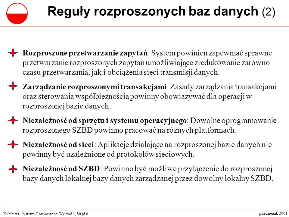 Reguły rozproszonych baz danych (2)
