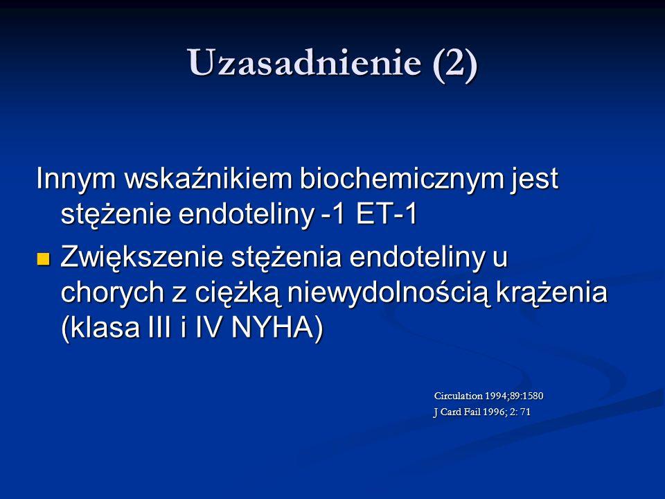 Uzasadnienie (2) Innym wskaźnikiem biochemicznym jest stężenie endoteliny -1 ET-1.