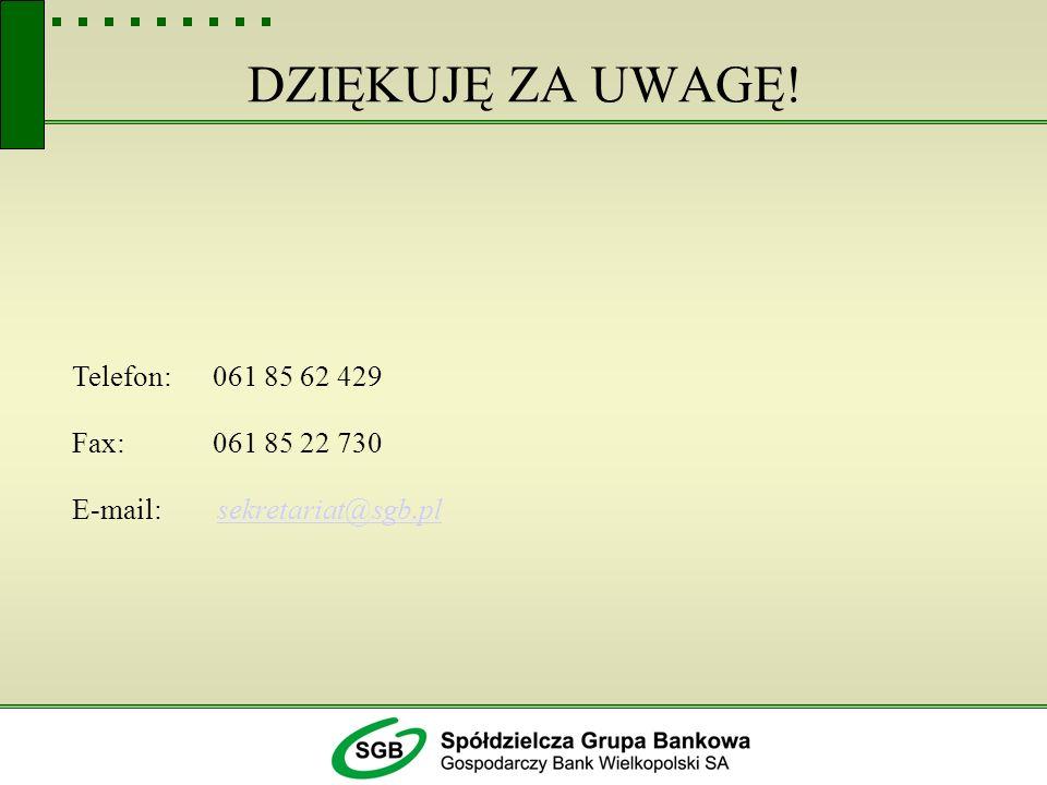 DZIĘKUJĘ ZA UWAGĘ! Telefon: 061 85 62 429 Fax: 061 85 22 730
