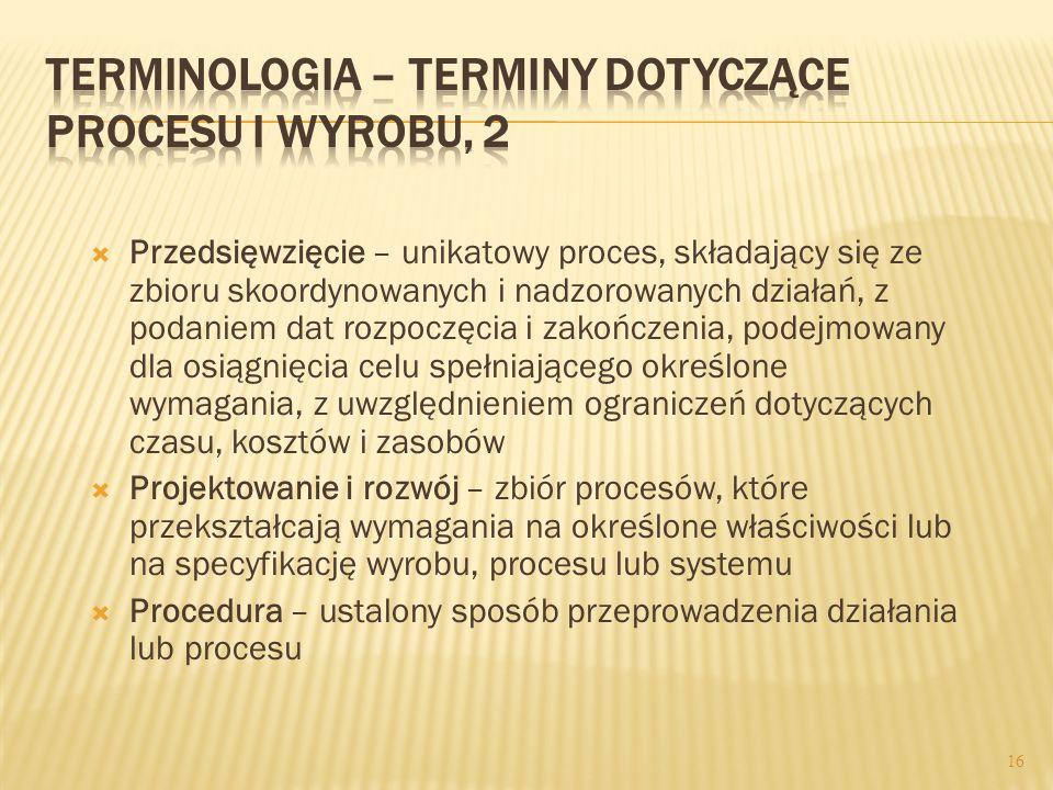Terminologia – terminy dotyczące procesu i wyrobu, 2