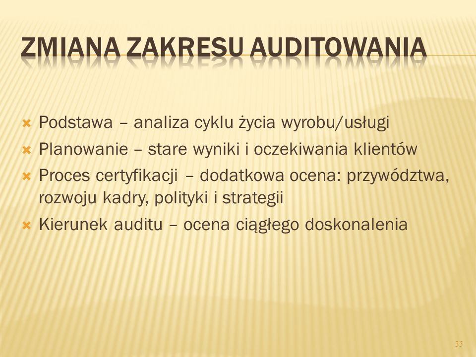 Zmiana zakresu auditowania