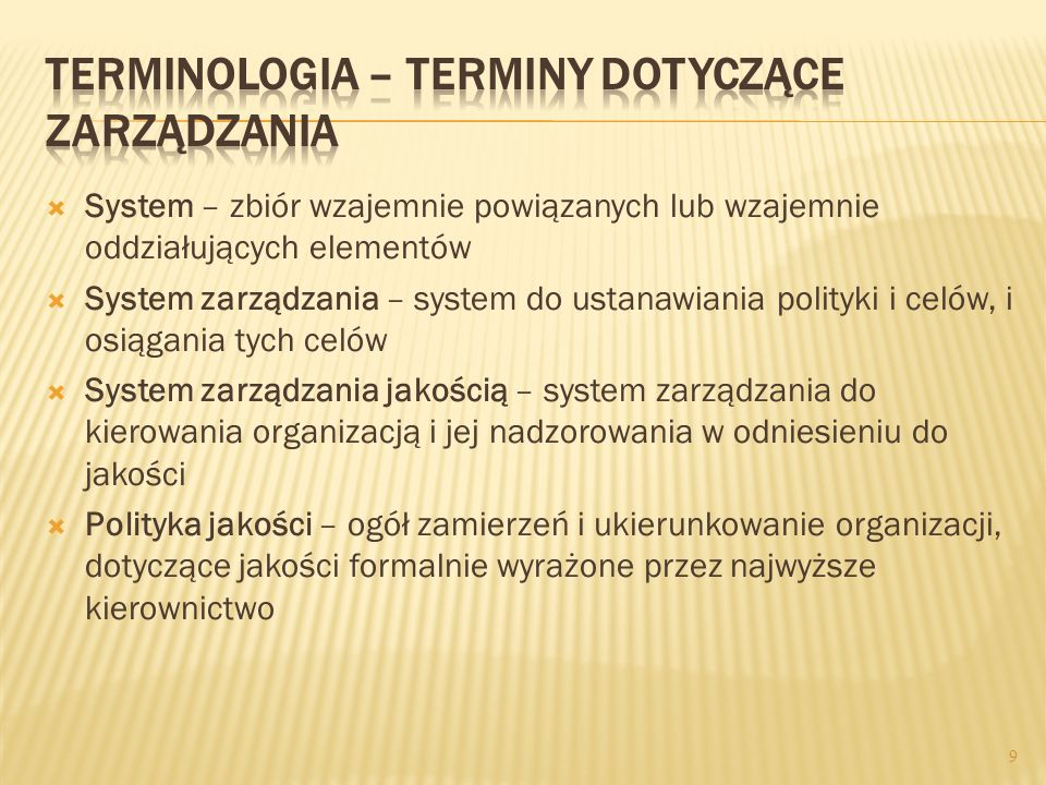 Terminologia – terminy dotyczące zarządzania