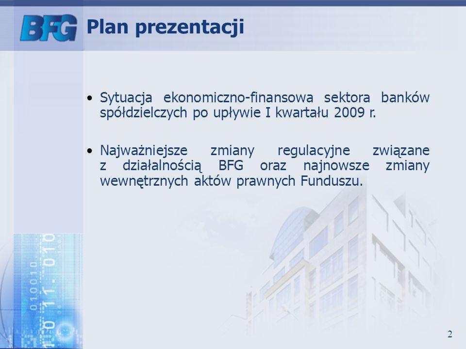 Plan prezentacji Sytuacja ekonomiczno-finansowa sektora banków spółdzielczych po upływie I kwartału 2009 r.