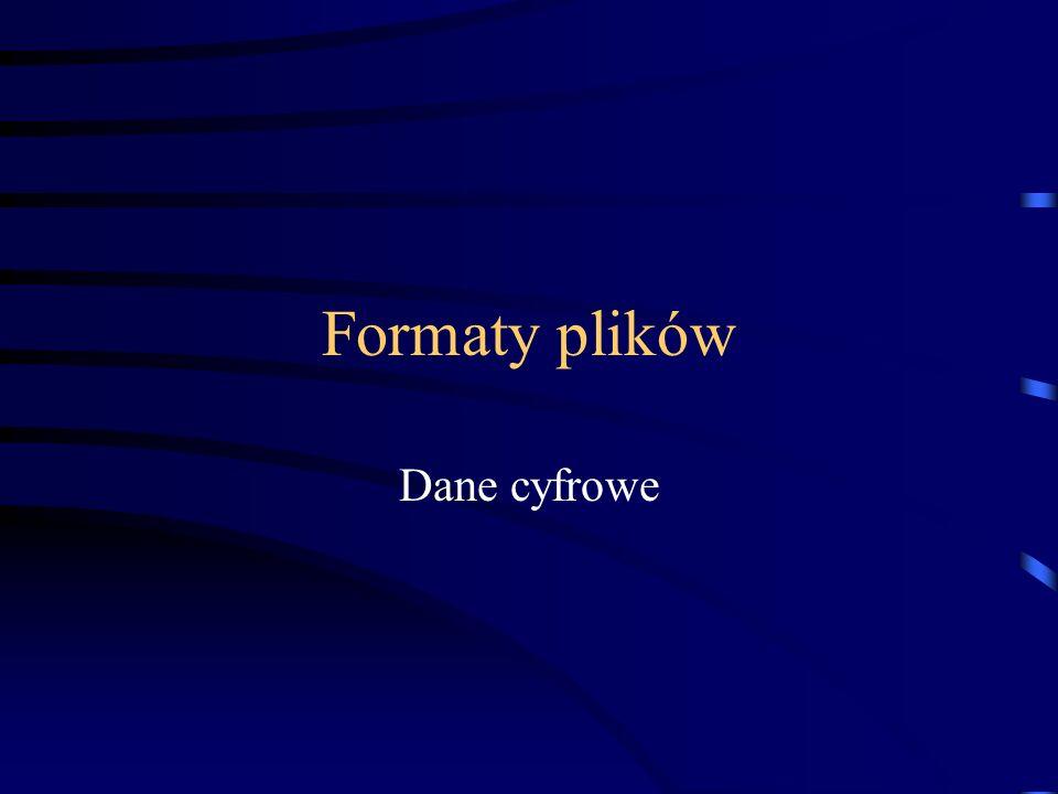 Formaty plików Dane cyfrowe