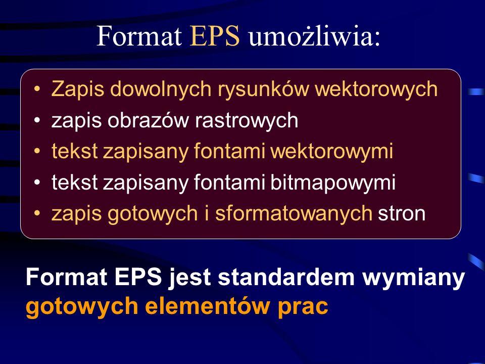 Format EPS umożliwia: Format EPS jest standardem wymiany