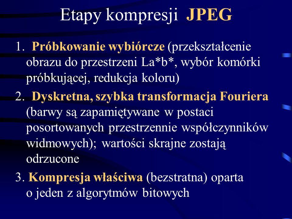 Etapy kompresji JPEG 1. Próbkowanie wybiórcze (przekształcenie obrazu do przestrzeni La*b*, wybór komórki próbkującej, redukcja koloru)