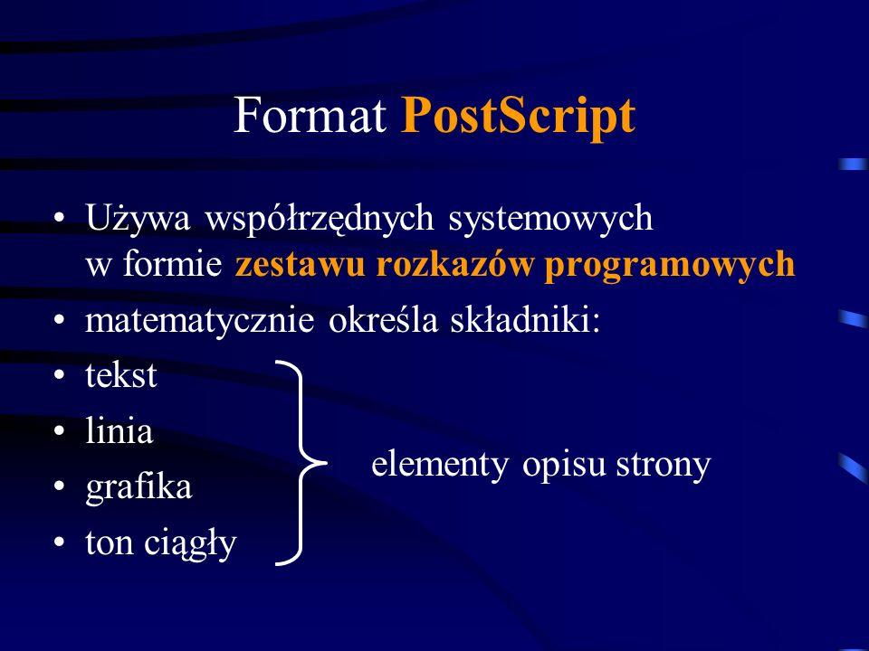 Format PostScript Używa współrzędnych systemowych w formie zestawu rozkazów programowych. matematycznie określa składniki: