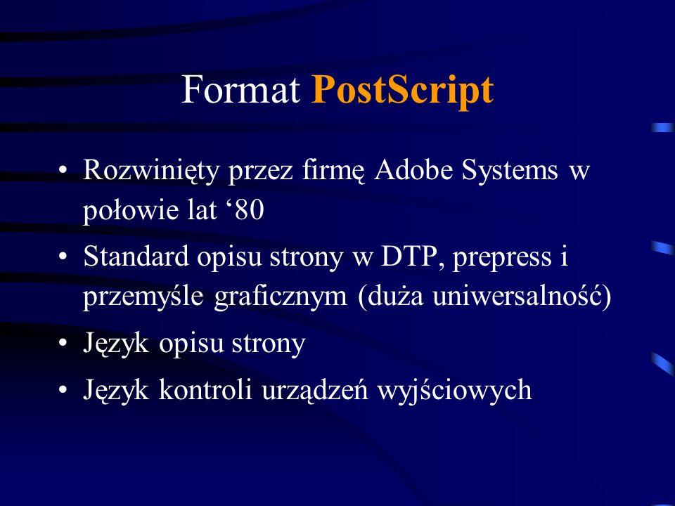 Format PostScript Rozwinięty przez firmę Adobe Systems w połowie lat '80.