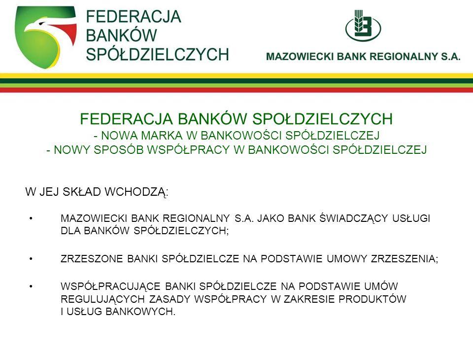 FEDERACJA BANKÓW SPOŁDZIELCZYCH - NOWA MARKA W BANKOWOŚCI SPÓŁDZIELCZEJ - NOWY SPOSÓB WSPÓŁPRACY W BANKOWOŚCI SPÓŁDZIELCZEJ