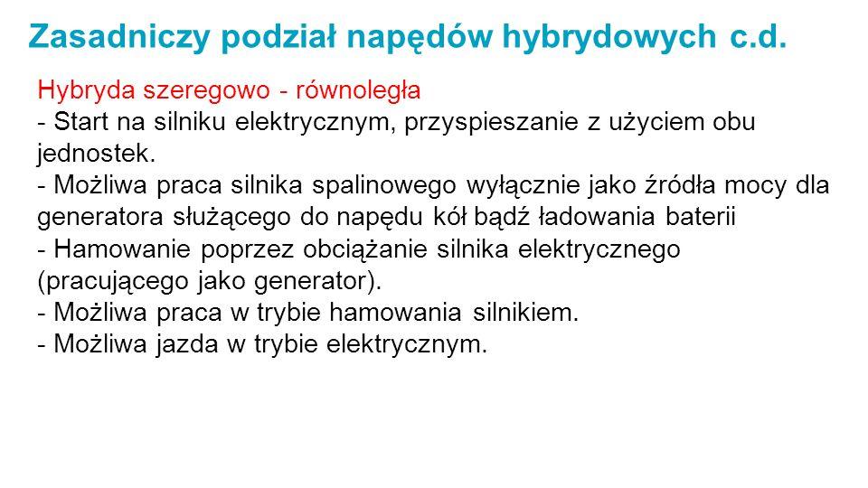 Zasadniczy podział napędów hybrydowych c.d.