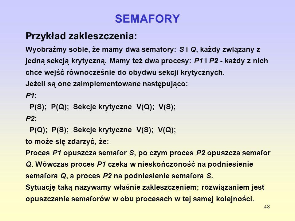 SEMAFORY Przykład zakleszczenia: