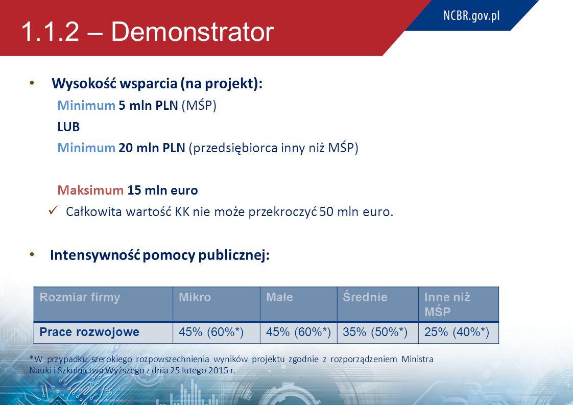 1.1.2 – Demonstrator Wysokość wsparcia (na projekt):