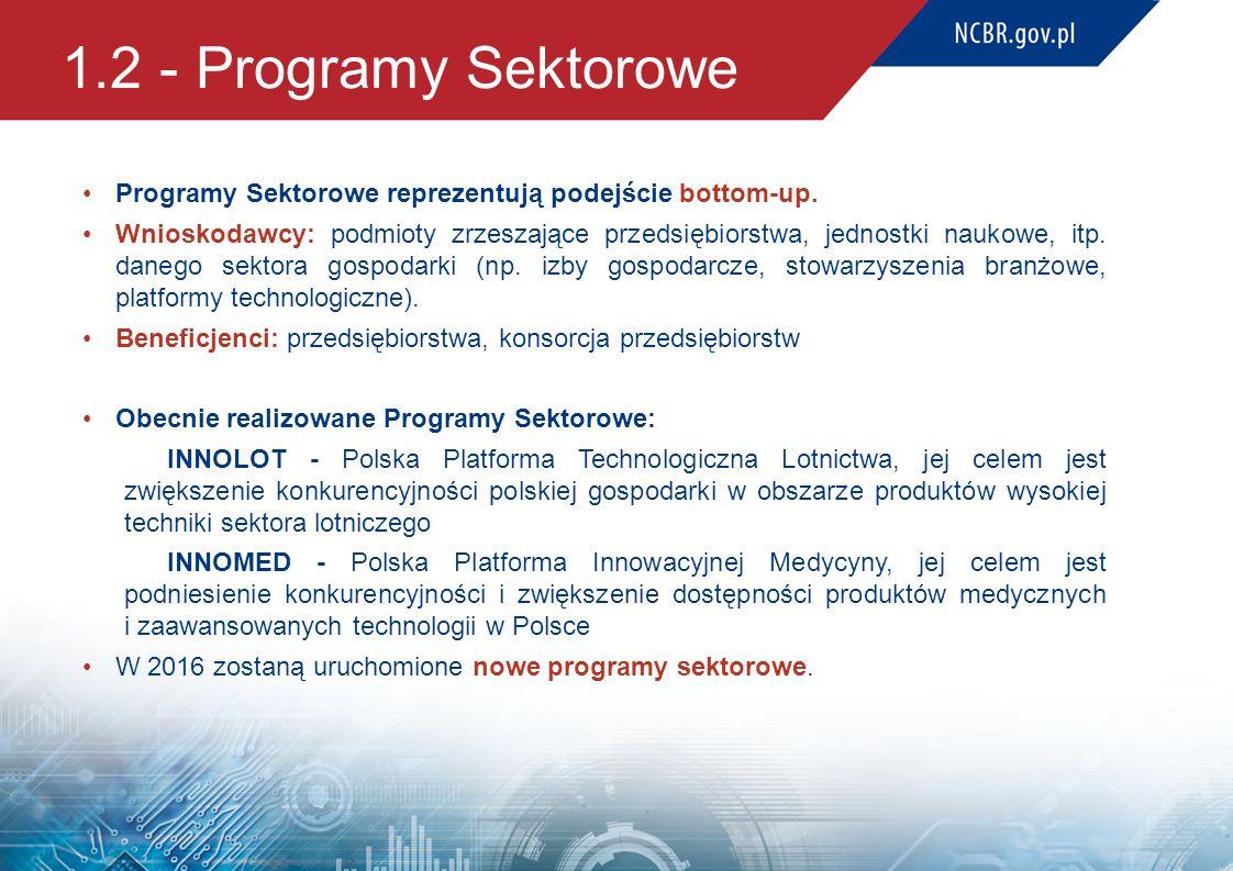 1.2 - Programy Sektorowe Programy Sektorowe reprezentują podejście bottom-up.