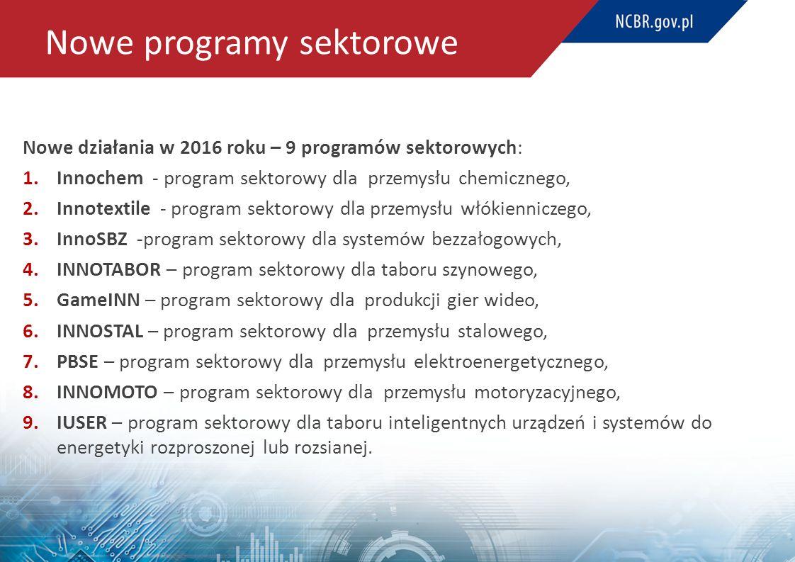 Nowe programy sektorowe