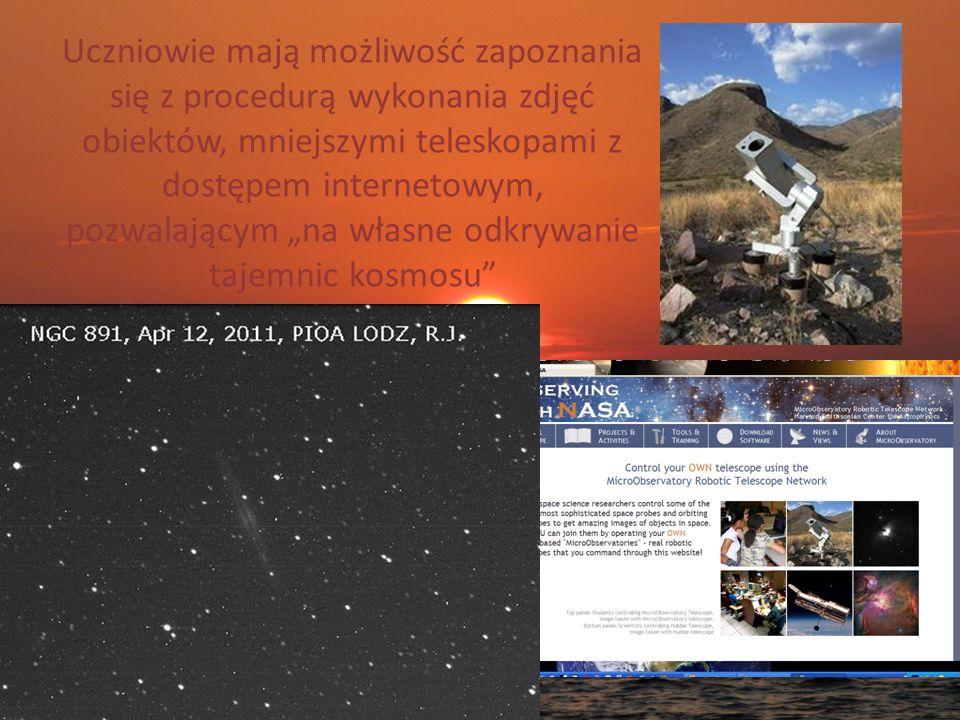 """Uczniowie mają możliwość zapoznania się z procedurą wykonania zdjęć obiektów, mniejszymi teleskopami z dostępem internetowym, pozwalającym """"na własne odkrywanie tajemnic kosmosu"""