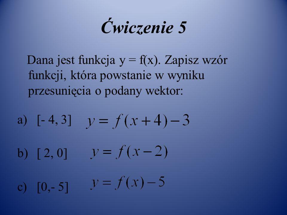 Ćwiczenie 5 Dana jest funkcja y = f(x). Zapisz wzór funkcji, która powstanie w wyniku przesunięcia o podany wektor: