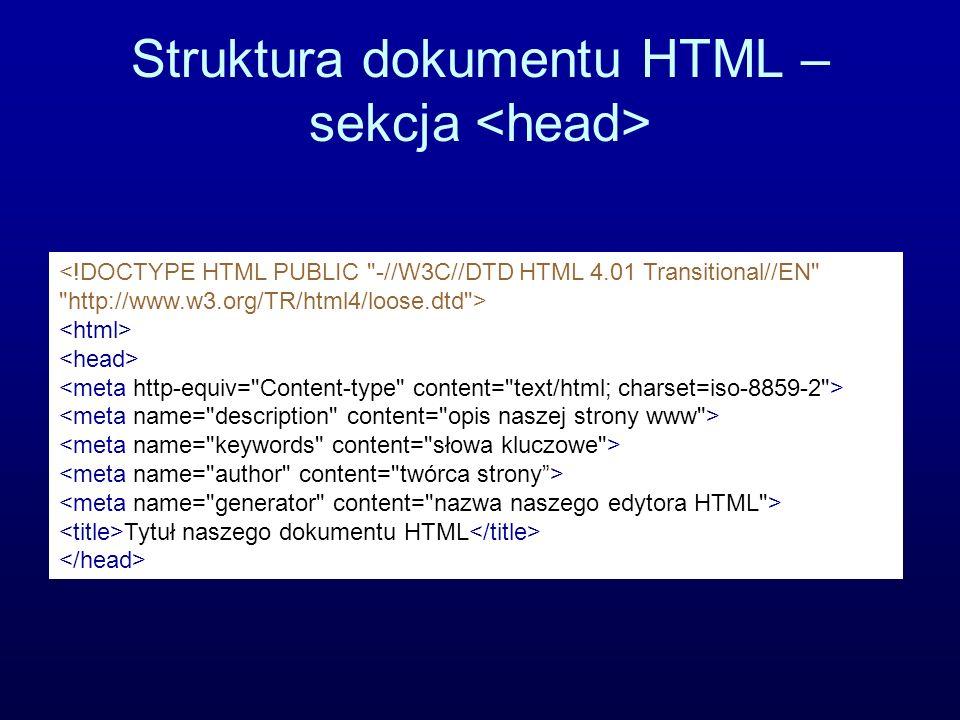 Struktura dokumentu HTML – sekcja <head>