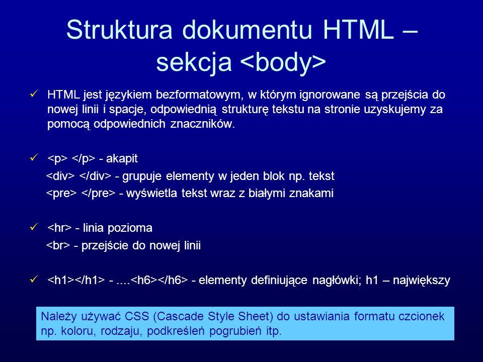 Struktura dokumentu HTML – sekcja <body>