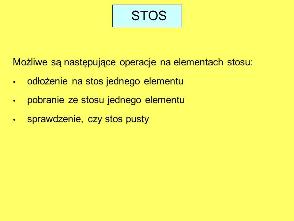 STOS Możliwe są następujące operacje na elementach stosu:
