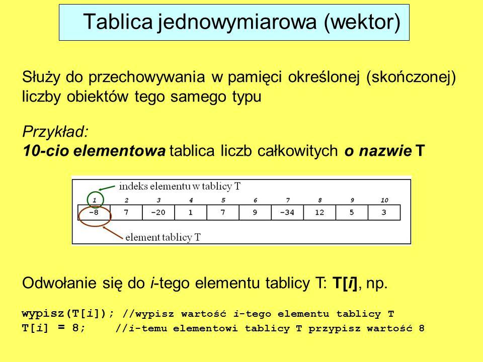 Tablica jednowymiarowa (wektor)
