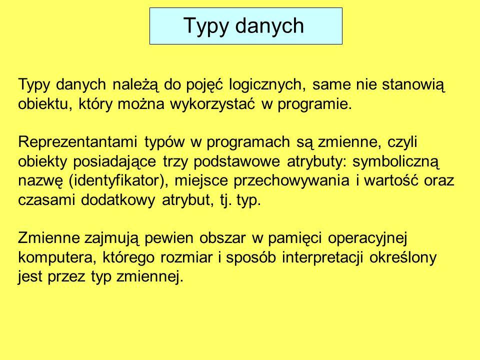 Typy danych Typy danych należą do pojęć logicznych, same nie stanowią obiektu, który można wykorzystać w programie.