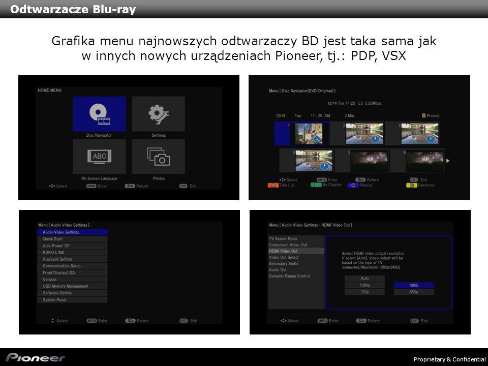 Odtwarzacze Blu-rayGrafika menu najnowszych odtwarzaczy BD jest taka sama jak w innych nowych urządzeniach Pioneer, tj.: PDP, VSX.