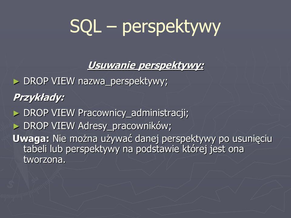 Usuwanie perspektywy: