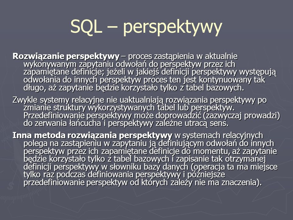 SQL – perspektywy