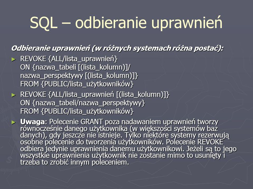 SQL – odbieranie uprawnień