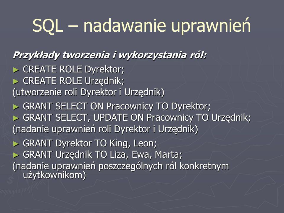 SQL – nadawanie uprawnień