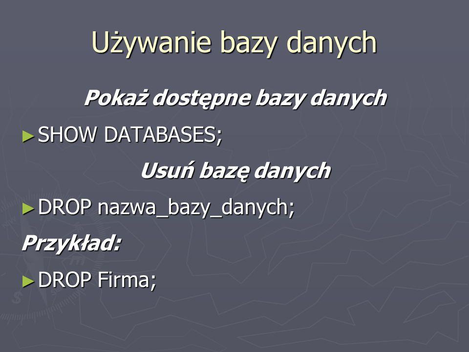 Pokaż dostępne bazy danych