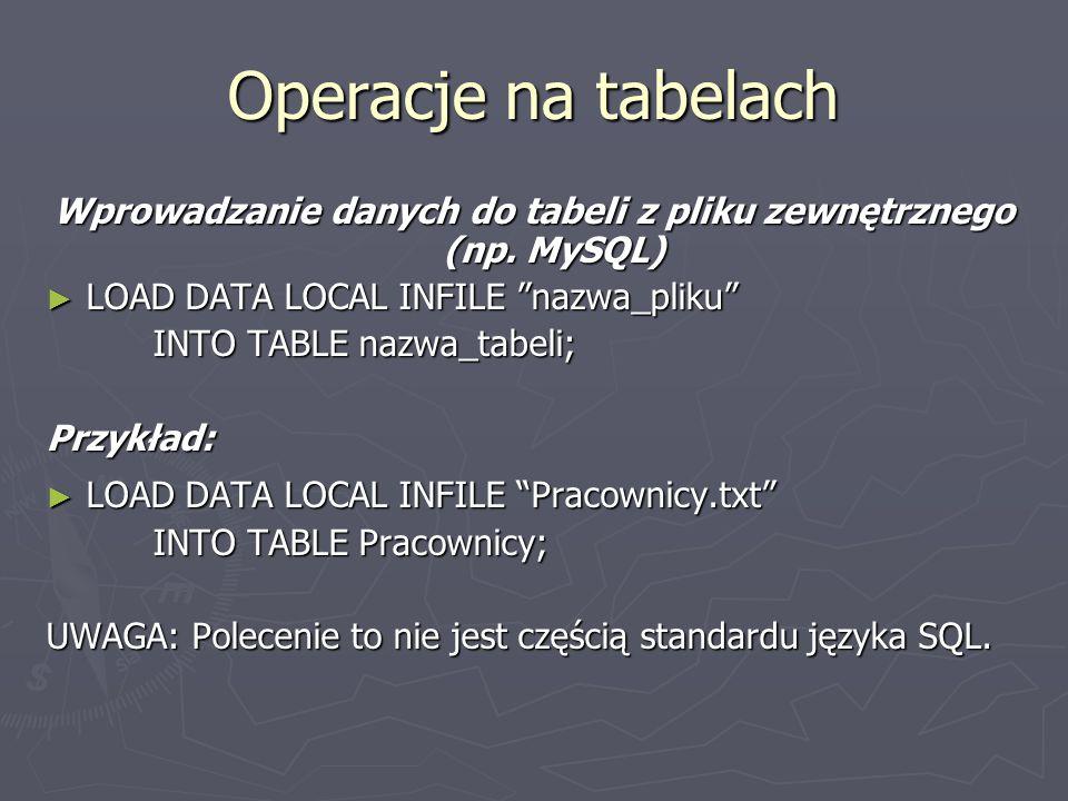 Wprowadzanie danych do tabeli z pliku zewnętrznego (np. MySQL)