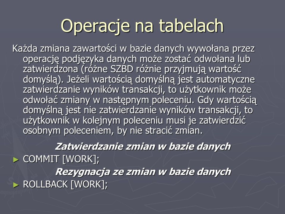 Operacje na tabelach