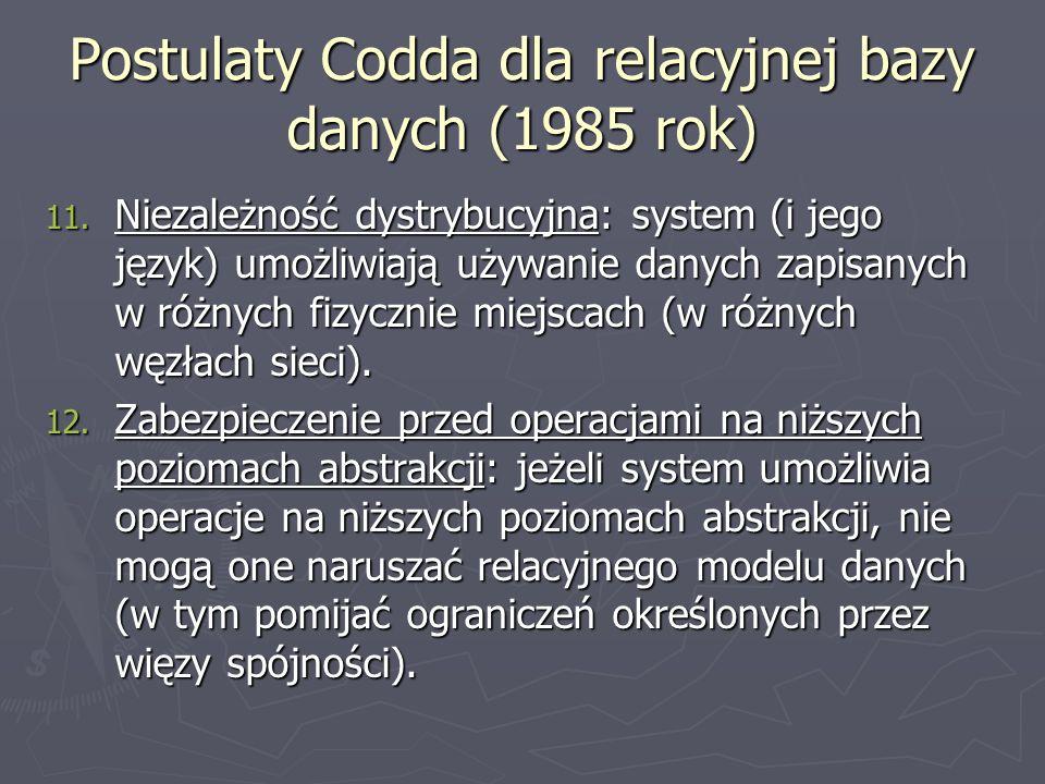 Postulaty Codda dla relacyjnej bazy danych (1985 rok)