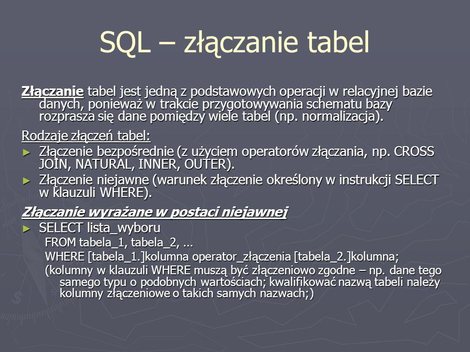 SQL – złączanie tabel