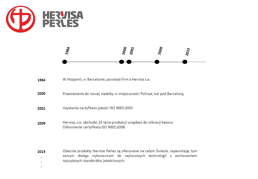 1984 2000. 2001. 2009. 2015. W Hiszpanii, w Barcelonie, powstaje firm a Hervisa s.a.