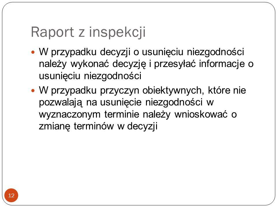 Raport z inspekcji W przypadku decyzji o usunięciu niezgodności należy wykonać decyzję i przesyłać informacje o usunięciu niezgodności.