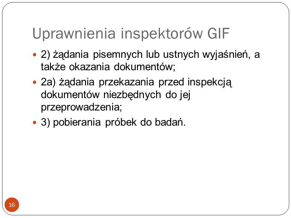 Uprawnienia inspektorów GIF