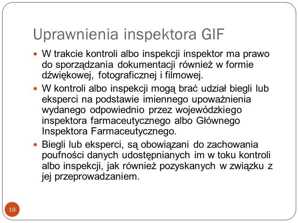 Uprawnienia inspektora GIF