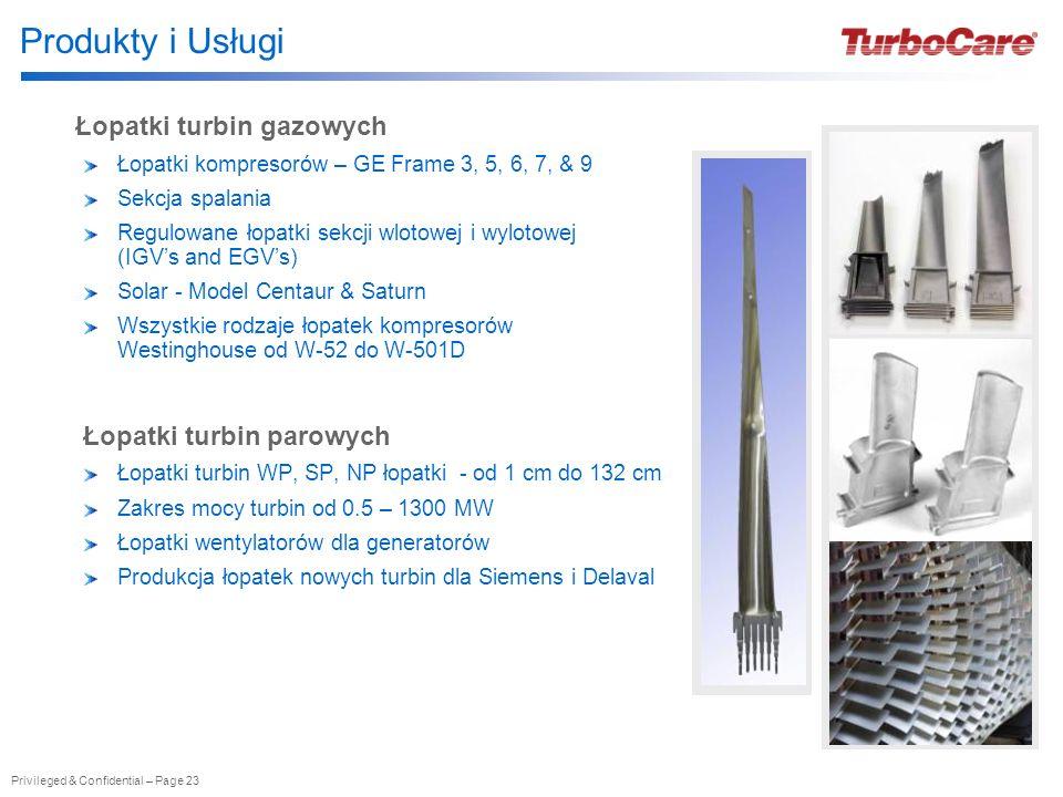 Produkty i Usługi Łopatki turbin gazowych Łopatki turbin parowych