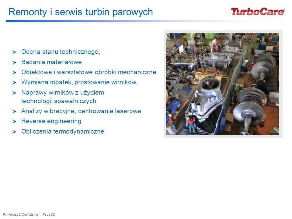 Remonty i serwis turbin parowych