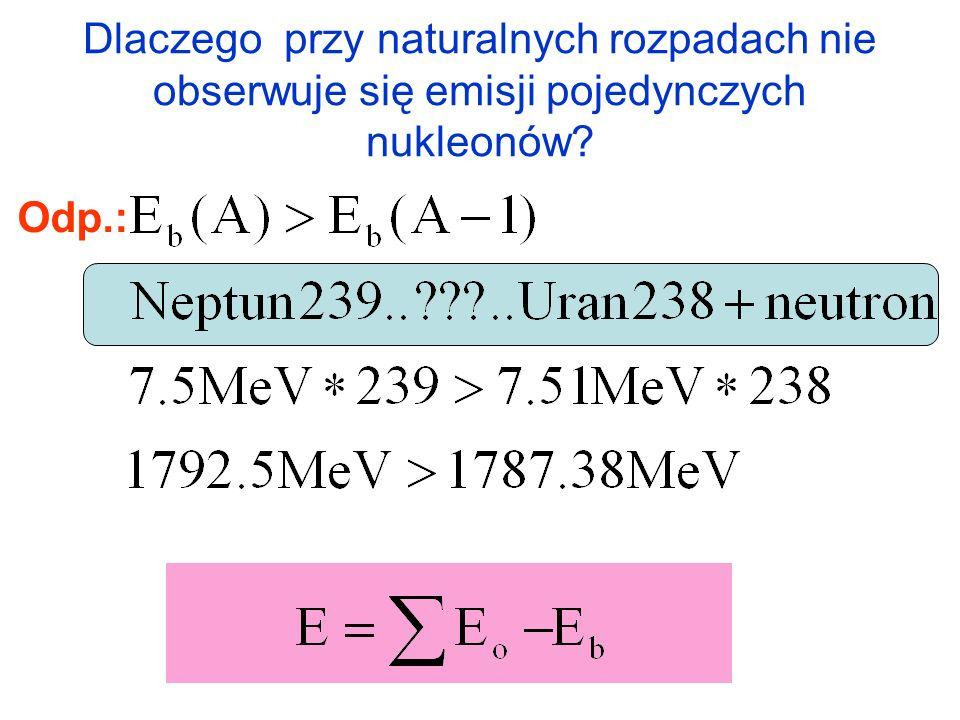 Dlaczego przy naturalnych rozpadach nie obserwuje się emisji pojedynczych nukleonów