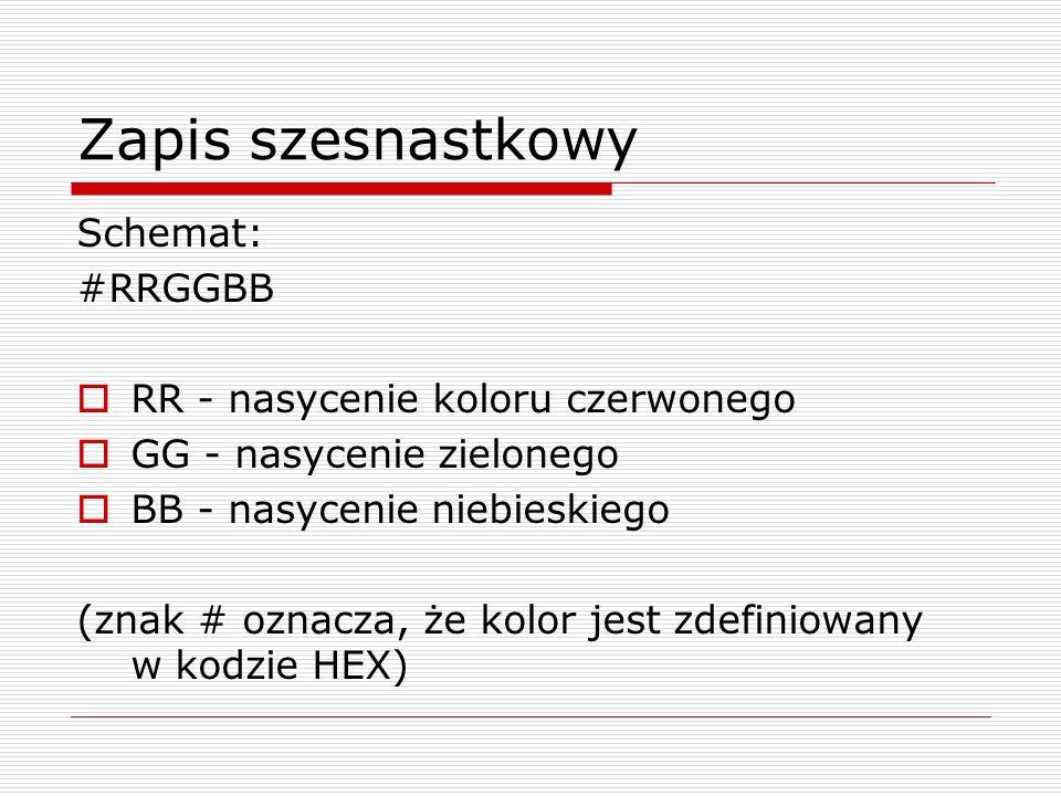 Zapis szesnastkowy Schemat: #RRGGBB RR - nasycenie koloru czerwonego