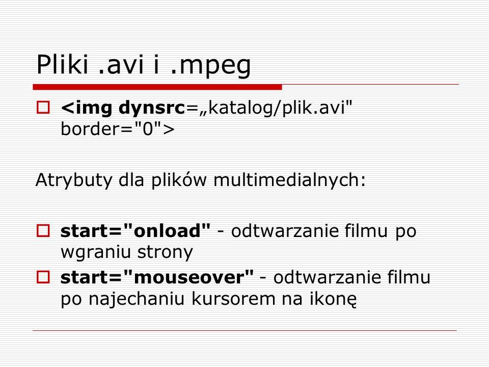 """Pliki .avi i .mpeg <img dynsrc=""""katalog/plik.avi border= 0 >"""