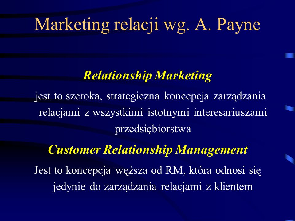 Marketing relacji wg. A. Payne
