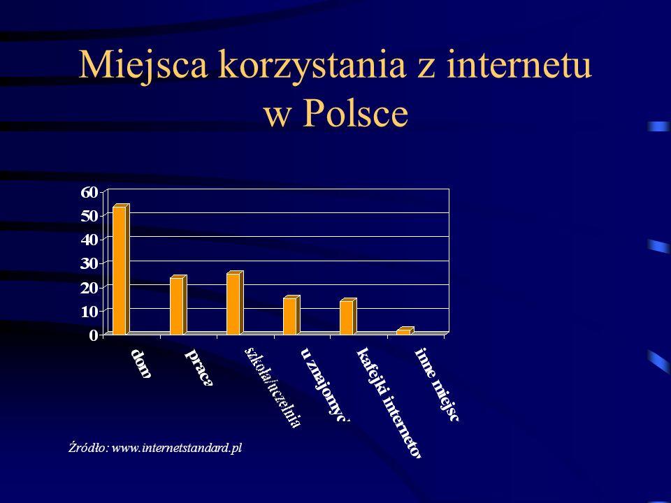 Miejsca korzystania z internetu w Polsce