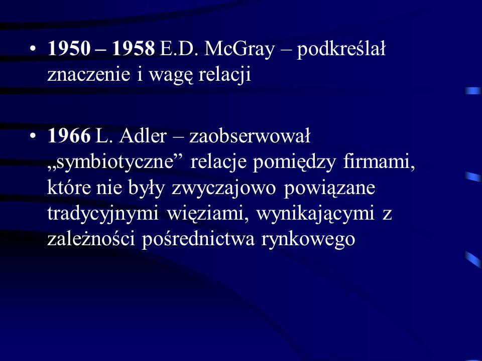 1950 – 1958 E.D. McGray – podkreślał znaczenie i wagę relacji