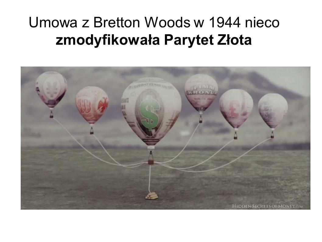 Umowa z Bretton Woods w 1944 nieco zmodyfikowała Parytet Złota