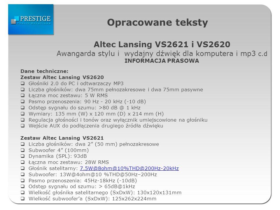 Opracowane teksty Altec Lansing VS2621 i VS2620