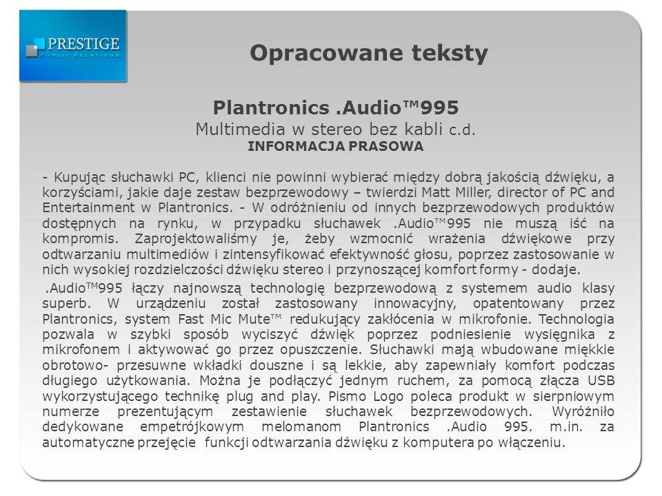 Multimedia w stereo bez kabli c.d.